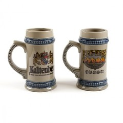 22 oz Beer Stein Grey w/ Blue Trim