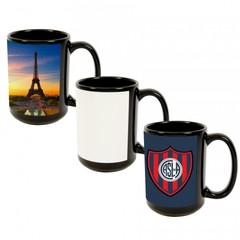 15 oz. Ceramic Mug, Black with Sublimation Silk Screen White Patch